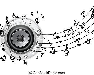 vetro, bottone, altoparlante, note, musica