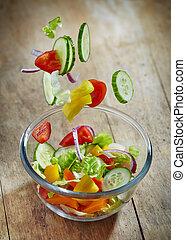 vetro, cadere, ciotola, verdura, fresco