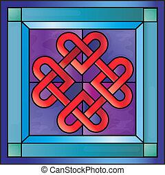 vetro, celtico, macchiato, cuori