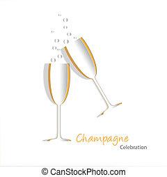 vetro, champagne, ritagliare