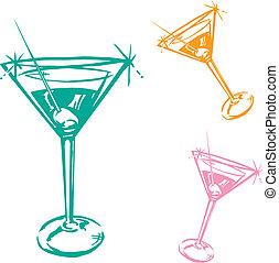 vetro, cocktail, illustrazione
