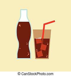 vetro, cola., bottiglia