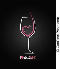 vetro, concetto, fondo, vino