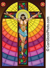 vetro, crocifissione, macchiato, pittura