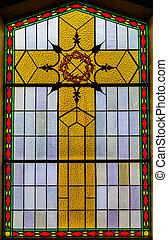 vetro, dentro, macchiato, dettagli, chiesa
