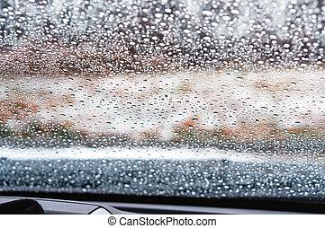 vetro, gocce acqua, vetro, automobile, pioggia