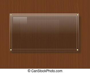 vetro, legno, fondo, piastra