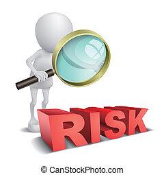 "vetro parola, ""risk"", osservare, persona, ingrandendo, 3d"