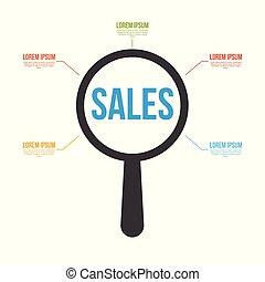 vetro, parola, vendite, ingrandendo