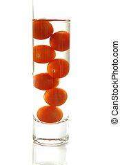 vetro, pomodori, ciliegia, acqua
