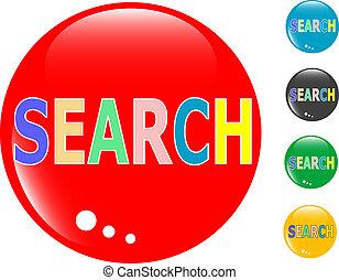 vetro, ricerca, bottone, icona