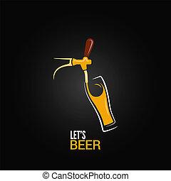 vetro, rubinetto birra, fondo, disegno