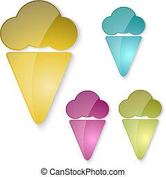 vetro, set, crema, ghiaccio, icone