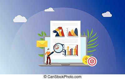 vetro, uomo, persone, grafico, ingrandendo, carta, affari, visuale, concetto, vettore, marketing, analizzare, dati, documento, finanza, -