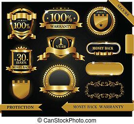 vettore, 100%, guaranteed, etichetta, soddisfazione, protezione, segno