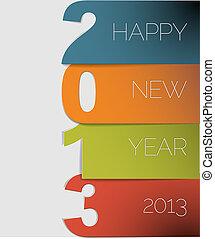 vettore, 2013, anno, nuovo, scheda, felice