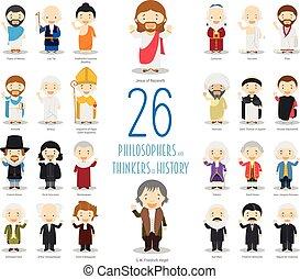 vettore, 26, bambini, pensatori, grande, style., philosophers, set, caratteri, storia, cartone animato, collection: