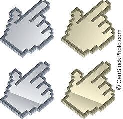vettore, 3d, cursori, metallico