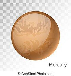 vettore, 3d, mercurio, illustrazione, pianeta