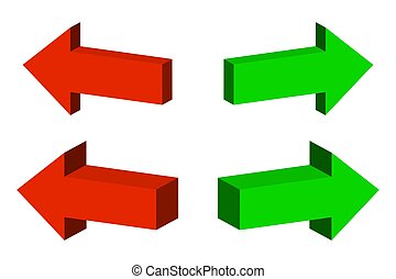 vettore, 3d, set, illustration., arrows.