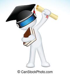 vettore, 3d, uomo, laureato