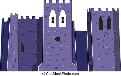 vettore, abbazia, illustrazione, forte
