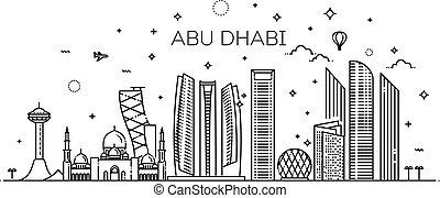 vettore, abu, cityscape., famoso, tutto, edifici., linea, città, illustrazione, arte, dhabi