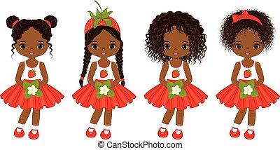vettore, acconciature, poco, americano, ragazze, africano, vario, carino