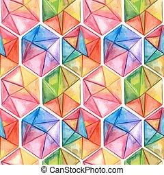 vettore, acquarello, modello, geometrico, esagoni, seamless