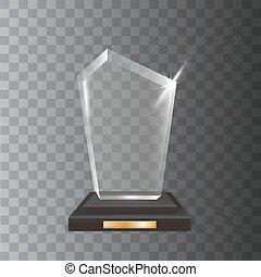 vettore, acrilico, realistico, vuoto, premio, trofeo, vetro, trasparente
