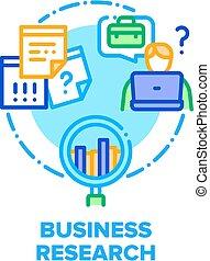 vettore, affari, analisi, colorare, ricerca, concetto