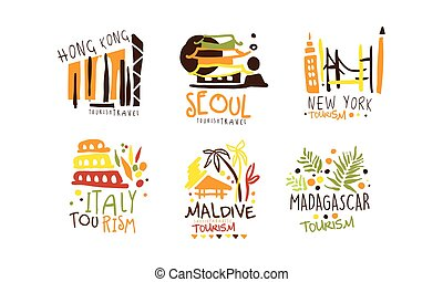 vettore, agenzia, immagine, logos, attractions., illustration., viaggiare, set