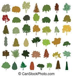 vettore, alberi., set, silhouette, retro