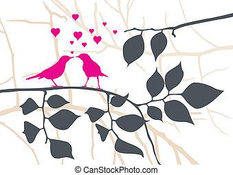 vettore, albero, -, amare uccelli