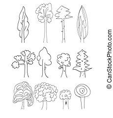 vettore, albero, collezione