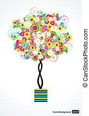 vettore, albero, fiore