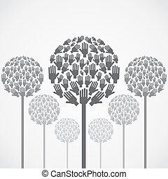 vettore, albero, mano