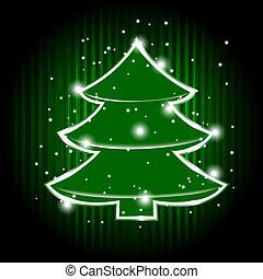 vettore, albero, natale, stelle