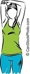 vettore, allungamento donna, illustrazione, 2, idoneità, esercizi