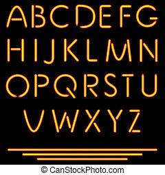vettore, alphabet., illustration., no, tubo, neon, isolato, letters., fondo., maglia, nero, realistico, used.
