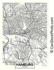 vettore, amburgo, città, dettagliato, mappa, manifesto