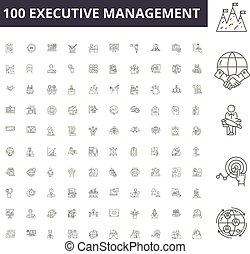 vettore, amministrazione, contorno, set, esecutivo, icone, illustrazione, concetto, linea, segni