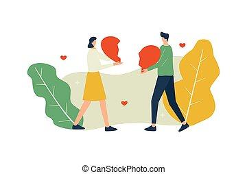 vettore, amore, concetto, coppia, illustrazione