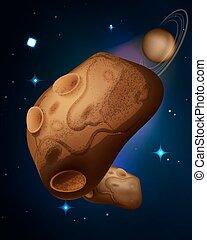 vettore, andare deriva, asteroidi, spazio illustrazione