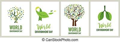 vettore, andare, mondo, verde, illustrazione, concetto, giorno, ambiente, design.