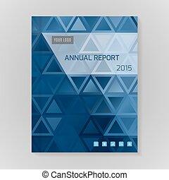 vettore, annuale, coperchio, relazione, illustrazione
