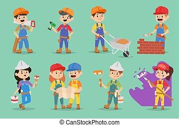 vettore, appartamento, bambini, illustration., persone, ragazze, felice, professione, bambini, ragazzi, lavoro, architect., giochi, adolescente, caratteri, costruzione, occupazione, costruttori, gioco, ingegnere
