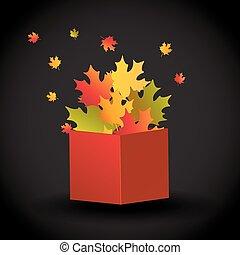vettore, appartamento, concetto, festival., legno, verdura, illustrazione, isolato, autunno, box., fondo, frutte, fresco, bianco, raccogliere, harvest.