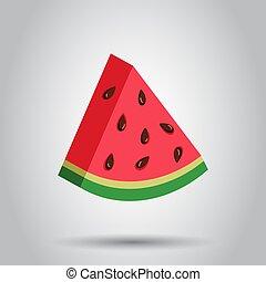 vettore, appartamento, concetto, illustration., maturo, semplice, pictogram., segno, affari, realistico, frutta, anguria, icon., 3d