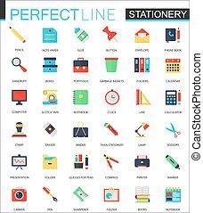 vettore, appartamento, set, icons., stationery